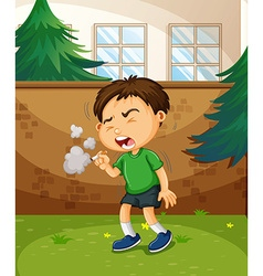 Boy smoking cigarette in the park vector image vector image