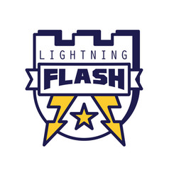 flash lightning logo template badge with vector image