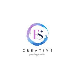 fs letter logo circular purple splash brush vector image vector image