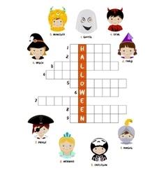 Halloween crossword puzzle for kids vector image