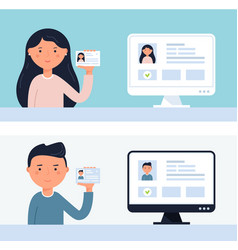 people holding up id cards account verification vector image vector image