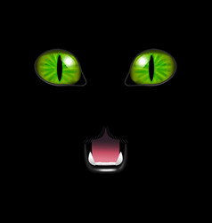 realistic 3d cat face on a black background vector image