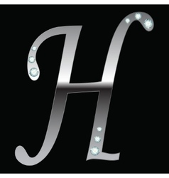 silver metallic letter H vector image vector image