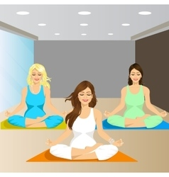 three smiling women sitting in yoga pose vector image vector image