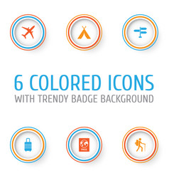 Traveling icons set collection of land suitcase vector