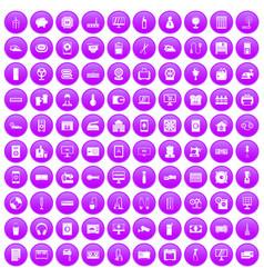 100 appliances icons set purple vector