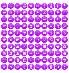 100 exotic animals icons set purple vector image