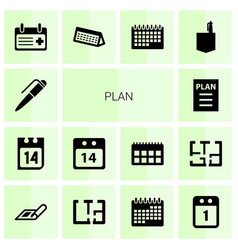 14 plan icons vector