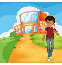 A man going home from school vector