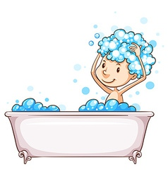 A young boy taking a bath vector image