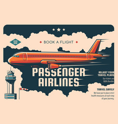 Airline flight ticket booking service retro poster vector