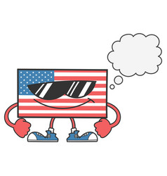 american flag with sunglasses and speech bubble vector image