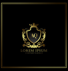 Aq initial letter luxury logo template in art vector