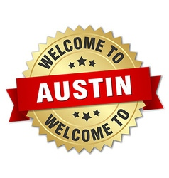 Austin 3d gold badge with red ribbon vector