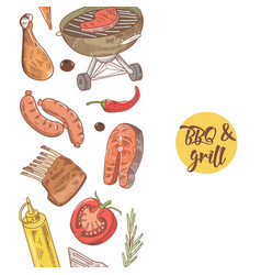 Bbq and grill hand drawn design with meat vector