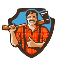 Bearded canadian woodcutter with axe in plaid vector