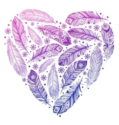 Beautiful valentines day feather heart vector