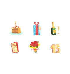 birthday party symbols set festive party vector image