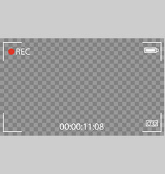black transparent camera rec interface vector image