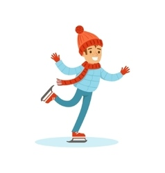 Boy Ice Skating Traditional Male Kid Role vector