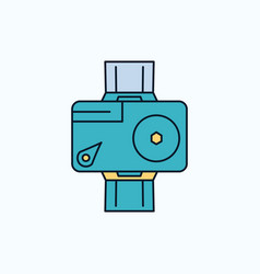 camera action digital video photo flat icon green vector image
