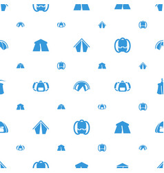 camping icons pattern seamless white background vector image