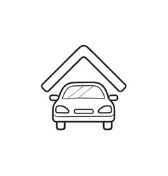 car garage hand drawn outline doodle icon vector image