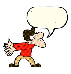 cartoon annoyed man gesturing with speech bubble vector image