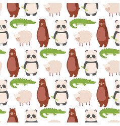cartoon bear zoo animals character different sheep vector image vector image