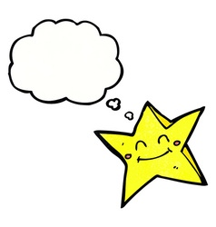 Cartoon happy star character with thought bubble vector