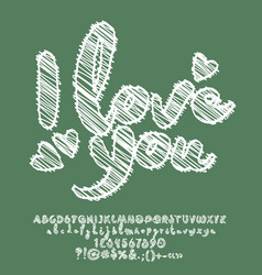 chalkboart style sketching card i love you vector image