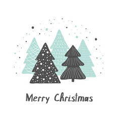 christmas greeting gard cute hand drawn vector image