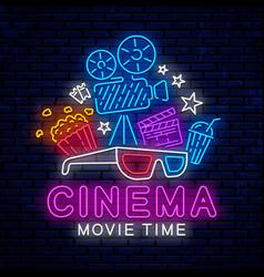 cinema bright neon sign vector image