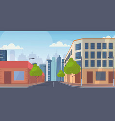 city street skyscraper buildings road view empty vector image