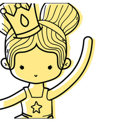 Color girl dancing ballet with two buns hair vector