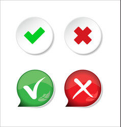confirm and deny checkmark and x icon button 3 vector image