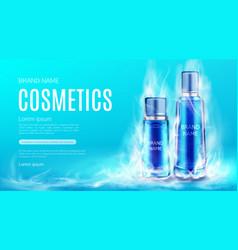 Cosmetics bottles in dry ice smoke cloud mockup vector