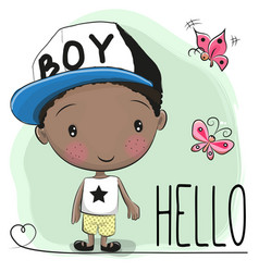 Cute cartoon boy and butterfly vector