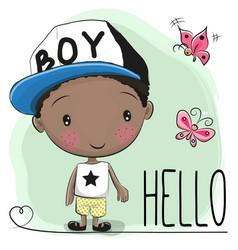 Cute cartoon boy and butterfly vector