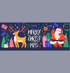 cute colorful merry christmas postcard on dark vector image