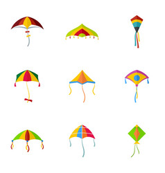 cute fly kite icon set flat style vector image