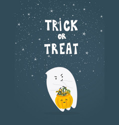 cute little ghost with pumpkin vector image