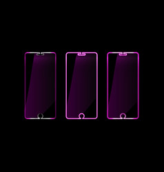 delineates pink neon mobile phone icon gadget vector image