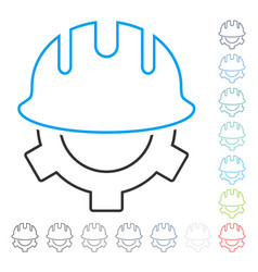 development helmet line icon vector image
