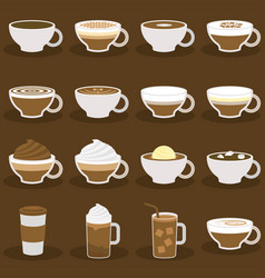 Different types of coffee menu in flat design vector