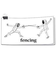 Doodle of men doing fencing vector