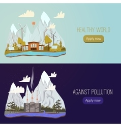Ecology Concept Banners for Green Energy vector image