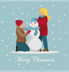 family makes a snowman before christmas vector image