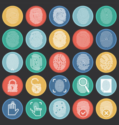 finger id icons on color circles black background vector image