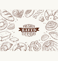fresh bread poster illustration vector image